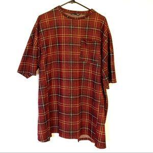 Zara Plaid Flannel Mini T-shirt Dress Tunic Red S